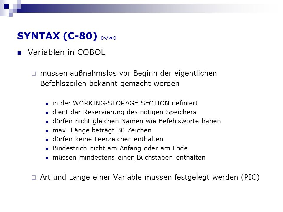 SYNTAX (C-80) [5/20] Variablen in COBOL